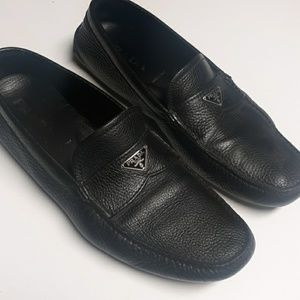 Prada mens bleack leather loafers